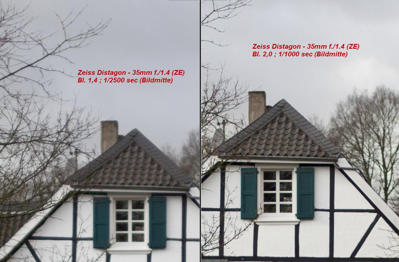 Carl Zeiss Distagon T* 35mm 1:1.4 ZE (ZF.2) Schärfe bei Offenblende