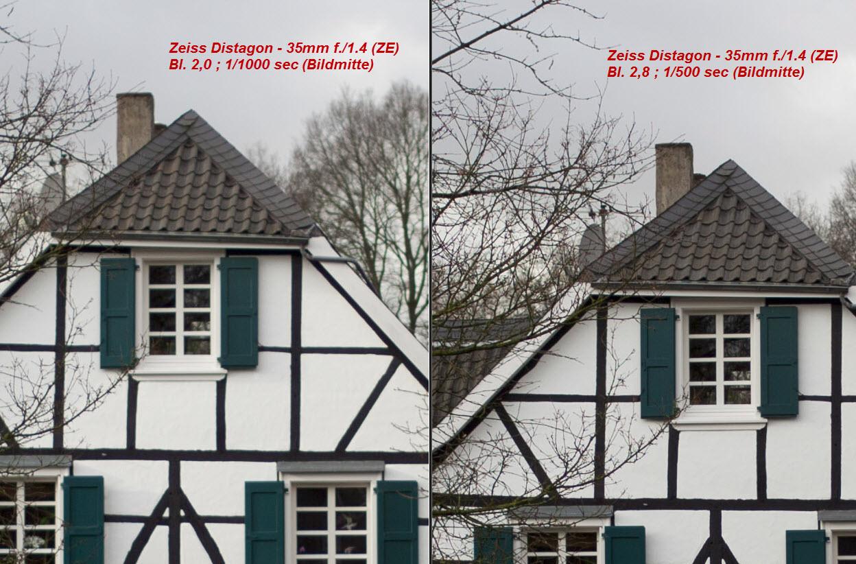 Carl Zeiss Distagon T* 35mm 1:1.4 ZE (für Canon) Bl. 2.0 vs. 2.8