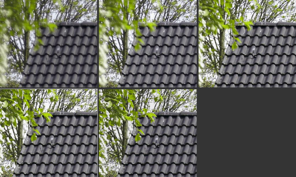 Canon 5D MKII mit Leica Summicron-R f/2.0 (Blende 2 bis 8; Bild ganz links oben)