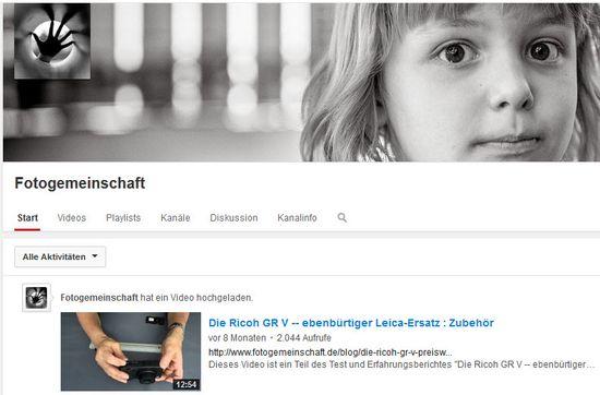 Youtube Videokanal der Fotogemeinschaft.de